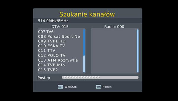 Szukanie nowych kanałów DVB-T