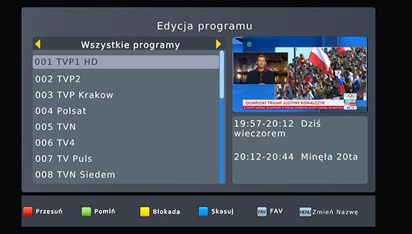Edycja kanałów DVB-T