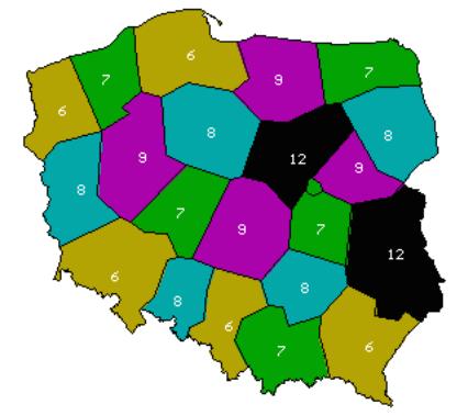 Multipleks 8 mapa kanałów częstotliwości