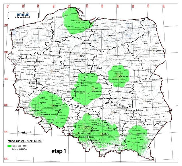 Nadajniki MUX 8 - mapa, etap 1
