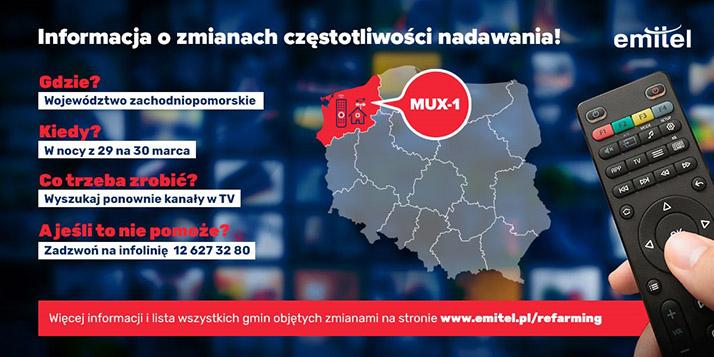 Zmiany częstotliwości wtelewizji naziemnej DVB-T